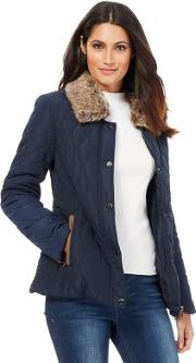 Navy Quilted Faux Fur Collar Jacket
