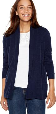 New England Navy Textured Stripe Cardigan
