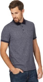 New England Navy Textured Tipped Polo Shirt