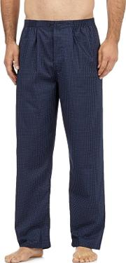 New England Pack Of Two Navy Cotton Checked Pyjama Bottoms