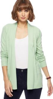 New England Pale Green Textured Striped Cardigan