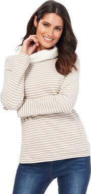 Pale Grey Striped Borg Lined Cowl Neck Sweater