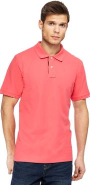 Pink Contrast Placket Polo Shirt