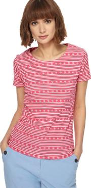 Pink Daisy Striped Print Top
