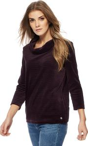 Purple Velour Ribbed Cowl Neck Sweater