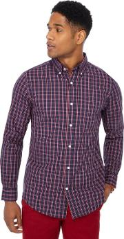 New England Red Checked Print Regular Fit Shirt