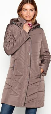 New England Taupe Fur Trim Padded Hooded Coat