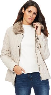 Taupe Quilted Faux Fur Collar Jacket