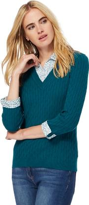 Turquoise Cable Knit 2 In 1 Jumper