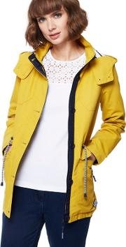 Yellow Hooded Shower Resistant Jacket