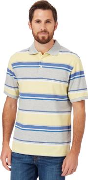 Yellow Textured Striped Classic Fit Polo Shirt