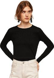 Black dranon Swiss Tulle Panel Sweater