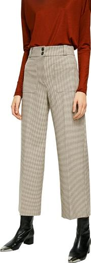 Brown Check Print celso Cropped Trousers