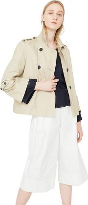 Brown taba Cotton Short Trench Coat