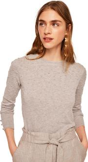 Grey dranon Swiss Tulle Panel Sweater