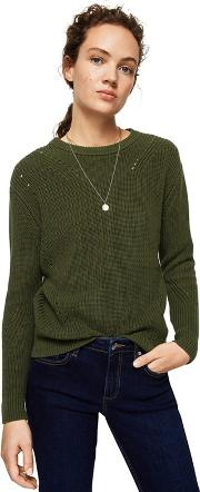 Khaki Openwork Detail genzo Knitted Sweater