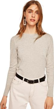 Light Brown dranon Swiss Tulle Panel Sweater