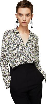 Multi Coloured Floral Print mao Shirt