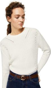 Natural Openwork Detail genzo Knitted Sweater