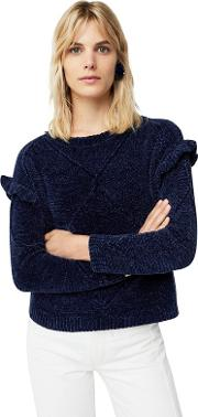 Navy tipi Ruffled Sweater