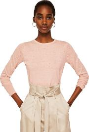 Pink dranon Swiss Tulle Panel Sweater