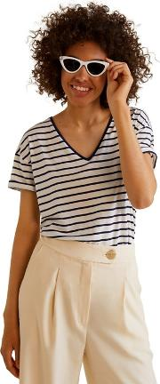 White And Blue Striped chala V Neck Essential T Shirt