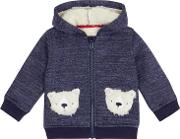 Baby Boys' Blue Teddy Bear Pocket Hoodie