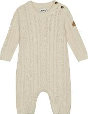 Baby Boys Cream Cable Knit Romper Suit