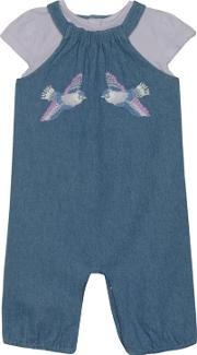 Baby Girls Blue Denim Bird Embroidered Romper Suit And Lilac Top Set