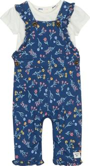 baby Girls Navy Floral Print Dungarees And Cream T Shirt Set