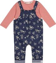 Baby Girls Navy Horse Print Dungarees And Pink Top Set