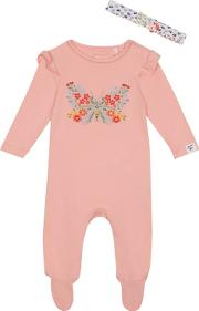 Baby Girls Pink Embroidered Butterfly Sleepsuit And Headband Set