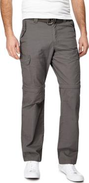 Big And Tall Dark Grey Zip Off Leg Cargo Trousers