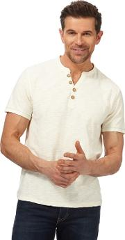 Big And Tall Off White Henley T Shirt