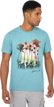 Big And Tall Turquoise Palm Tree Print T Shirt