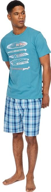 Big And Tall Turquoise Surf Print T Shirt And Checked Shorts Pyjama Set