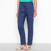 Blue Floral Print Tapered Trousers