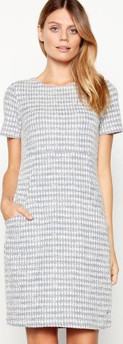 Blue Textured Diamond Print Knee Length Tunic Cotton Rich Dress