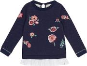 Girls Navy Embroidered Flower Mock Sweater