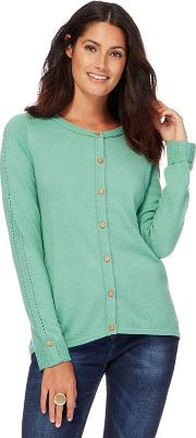 Green Crew Neck Cardigan With Wool