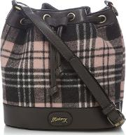 Grey And Pink Checked Duffle Bag