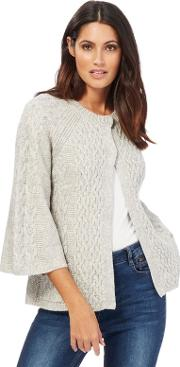 Grey Cable Knit Swing Cardigan