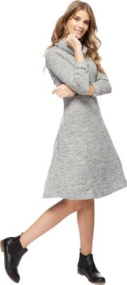 Grey Cowl Neckline Knee Length Fit And Flare Dress 6665d1021