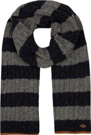 Grey Striped Cable Knit Scarf With Wool