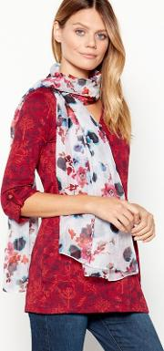 Ivory Floral Print watercolour Scarf