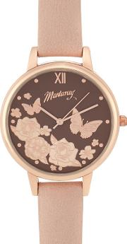 Ladies Pink Floral Face Watch