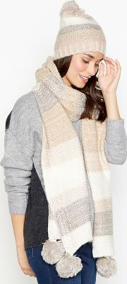 Light Pink Sparkle Stripe Pom Pom Scarf