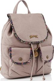 Light Purple Faux Leather Floral Print Backpack