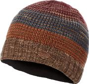 Multi Coloured Striped Knitted Beanie Hat