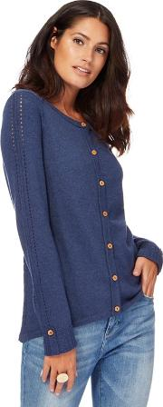 Navy Blue Crew Neck Cardigan With Wool